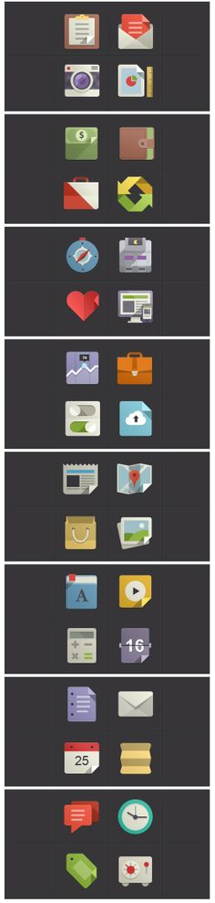 Flat icons with a bit of depth and colour. Web Design, Flat Design Icons, Icon Design, Flat Icons, Logo Design, Graphic Design Inspiration, Graphic Design Art, Flat Illustration, Illustrations