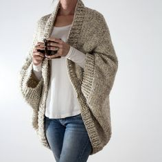Knitting Pattern - Over-sized Scoop Sweater - Knit Cardigan - Knit Jacket - Knit Cocoon - DECISIVENESS how much yarn to knit a woman's sweater - Woman Knitwear and Sweaters Sweater Knitting Patterns, Cardigan Pattern, Jacket Pattern, Knitting Sweaters, Free Knitting, Cocoon Cardigan, Sweater Cardigan, Oversized Cardigan, Crochet Cardigan
