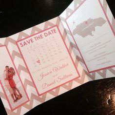 Chevron Tri-Fold Save The Date | Destination Wedding | Map & Calendar | by kreativees, $5.00