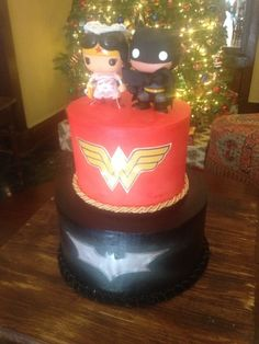 """Batman Groom's Cake but with no Wonder Woman layer or figure and have the phrase """"Holy Matrimony Batman"""""""
