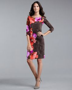 St. John Collection  Poppy Print Dress...love the chocolate mixed with a floral