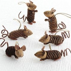 Mice pine cone ornaments