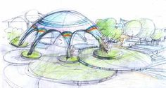 Architecture Concept Drawings, Landscape Architecture, Landscape Design, Architecture Design, Pavilion Design, Playground Design, Stage Design, Designs To Draw, Sketches