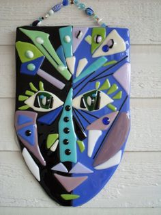 Fused Glass Face Art Buy | Super Sale Abstract Face Mask Fused Glass Plaque w/ bead hanger