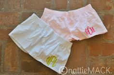 Monogrammed Seersucker Boxer Shorts. $24.00! Bridesmaids gifts, wedding gifts, wedding, birthday present, present, Gift, Monogram, monogrammed
