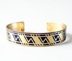 Etched Brass Cuff Geometric Pattern by AmongTheRuins on Etsy