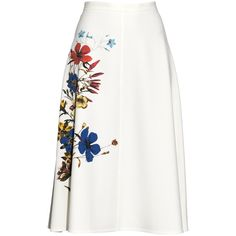Erdem Maury floral-print midi skirt ($1,265) ❤ liked on Polyvore featuring skirts, floral knee length skirt, floral midi skirt, colorful midi skirts, flower print skirt and pin skirt