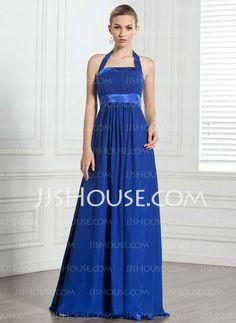 Bridesmaid Dresses - $112.99 - Empire Halter Floor-Length Chiffon  Charmeuse Bridesmaid Dresses With Ruffle (007000868) http://jjshouse.com/Empire-Halter-Floor-length-Chiffon--Charmeuse-Bridesmaid-Dresses-With-Ruffle-007000868-g868
