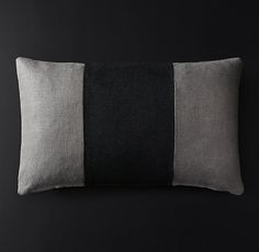 Belgian Linen Banded Pillow Cover - Lumbar
