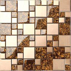Metallic Mix Brushed Steel Gold Bronze Glass Mosaic Wall Tiles Sheets in Home, Furniture & DIY, DIY Materials, Flooring & Tiles Mosaic Tile Sheets, Mosaic Wall Tiles, Wall And Floor Tiles, Pebble Tiles, Flooring Tiles, Copper Glass, Amber Glass, Stone Mosaic, Mosaic Glass