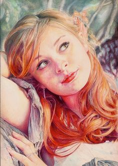 Faber Castell polychromos pencils on white paper , white ink used and stars and highlights