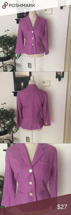 Chaps Long Sleeve Button Down Blazer Chaps Long Sleeve Purple/Lilac Button Down Blazer. 3 Button front closure. Gently worn. In very good condition. Woman's size Medium. Bust/chest (armpit to armpit) is approx 18.5-19 inches. Length is approx 22 inches. Chaps Jackets & Coats Blazers
