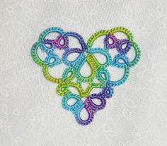 Tatted Motif- Rainbow Heart Bookmark http://www.georgiaseitz.com/2005/betsyevansheartbookmark.html