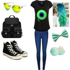 Jacksepticeye Outfit by adventure-time-lover on Polyvore featuring Pieces, Calvin Klein, Converse, Prada, AQS by Aquaswiss and Eos
