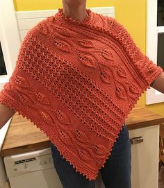 Free Knitting Pattern for Big River Vines Poncho - Poncho featuring leaf lace vines and lace rib is knit flat in two panels and seamed. Designed by Knittingsworth by cwbyfns Poncho Knitting Patterns, Shawl Patterns, Crochet Poncho, Knitting Designs, Free Knitting, Baby Knitting, Crochet Pattern, Aran Weight Yarn, Knitting Accessories
