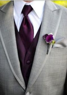Love the color play. the light grey tux and the eggplant best and tie look awesome together.-Groom tux HE WILL HAVE A GREY TUX! Perfect Wedding, Fall Wedding, Dream Wedding, Trendy Wedding, Wedding Stuff, Olive Wedding, Wedding Beauty, Garden Wedding, Wedding Attire