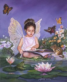 An adorable little fairy reading