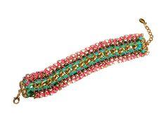 Friendship bracelet rhinestone neon multicolor