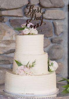 Three-Tier White Wedding Cake | Brides.com