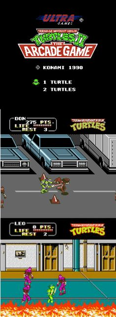 Teenage Mutant Ninja Turtles the Arcade Game. Our favorite Turtles back in action: Leonardo, Michelangelo, Donatello, and Raphael. After Shredder kidnaps the Turtles' friend April O'Neil and their mentor Splinter, they must give chase, save their comrades, and defeat the evil Shredder. This arcade game was released in 1989.