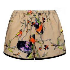 Shorts in seta stampata