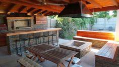 Ideas For Patio Modernos Cubiertos Outdoor Rooms, Outdoor Living, Outdoor Furniture Sets, Outdoor Decor, Casa Patio, Patio Roof, Backyard Retreat, Backyard Patio, Backyard Fireplace
