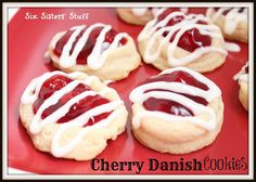 Six Sisters Cherry Danish Cookies are a delicious shortbread cookie with delicious cherry pie filling.