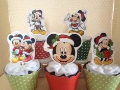 Mickey and Minnie Mouse Christmas Party Cupcake Topper Decorations - Set of 10