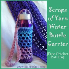 Scraps of Yarn Water Bottle Carrier {Free Crochet Pattern}