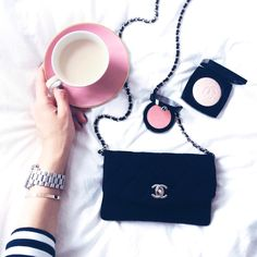 flatlay chanel bag, coffee, chanle beauty