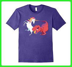 Mens T Rex vs Unicorn Fight Shirt Medium Purple - Fantasy sci fi shirts (*Amazon Partner-Link)