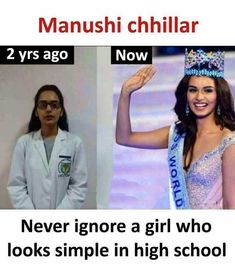 Manushi chhillar 2 yrs ago Now Never ignore a girl who looks simple in high school - Daily LOL Pics True Interesting Facts, Interesting Facts About World, Intresting Facts, Girly Attitude Quotes, Girly Quotes, Funny Quotes, Besties Quotes, Quotes Quotes, Motivational Quotes