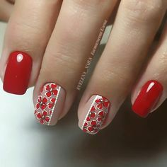 Fantastic Red Nails Ideas For Stylish Ladies - Köröm minták - halloween nails Red Nail Designs, Colorful Nail Designs, Nail Art Moderne, Cute Nails, Pretty Nails, Gel Nagel Design, Modern Nails, Floral Nail Art, Flower Nails