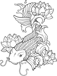 Plantillas para tatuajes del pez koi 04