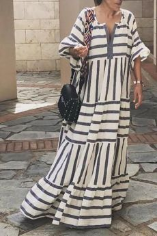 Fashion Geometric Stripe V Neck Beach Maxi Dresses maxi dress summer,maxi dress outfit,maxi dress casual, Spring Dresses, Women's Dresses, Fashion Dresses, Elegant Dresses, Wedding Dresses, Formal Dresses, Pretty Dresses, Beach Dresses, Awesome Dresses