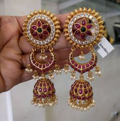 Extremely Beautiful & Traditional Jhumkas/Earrings in Silver and Gold Polish with Ruby's,Emeralds and Pearls -Indian Temple Jewelry Gold Jhumka Earrings, Indian Jewelry Earrings, Gold Earrings Designs, Ruby Earrings, Ear Jewelry, Temple Jewellery, Bridal Jewelry, Silver Jewelry, Silver Ring