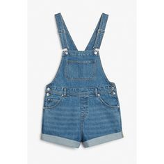 Monki Classic denim dungaree shorts ($44) ❤ liked on Polyvore featuring shorts, blue, denim dungaree, monki, pocket shorts, denim shorts and blue denim shorts