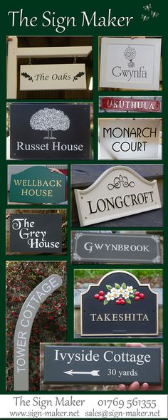 House signs made just the way you want them. At The Sign Maker we make house signs in all kinds of materials. Slate House Sign - Wooden House Signs - Cast House Signs - Painted House Signs - House Number Signs - Hanging Signs - Framed Signs - And lots more! Home Wooden Signs, House Signs, Grey Houses, Sign Maker, Wooden House, House Numbers, Hanging Signs, Just The Way, Clear Acrylic