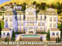 This Mansion for a big Celebrity family, with 3 stories, pool, fountain, garage and beautiful view at night. Found in TSR Category 'Sims 4 Residential Lots' Lotes The Sims 4, Sims Cc, Mansion Rooms, One Storey House, Craftsman Farmhouse, Sims House Plans, Sims Building, Casas The Sims 4, Minecraft Decorations