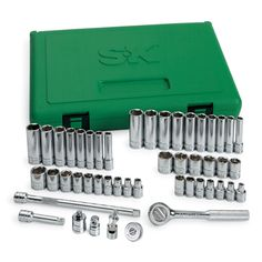 This 48 piece set is ., featuring SK's high polish SuperKrome finish, which protects the tools from the harsh working environments found in today's workplace. Provides long life and maximum corrosion resistance. All sockets feature SK's SureGrip hex design, which drives the side of the fastener, not the corner, to avoid edge breakage which can occur on rusted or damaged fasteners when a traditional straight cornered hex tool is used. New additions include Thumbwheel Ratchet, 2 Adapters and… Sk Tools, Hand Tools, Garage Tools, Metric Socket Set, Socket Wrench Set, Precision Tools, Universal Joint, Professional Tools, Blow Molding