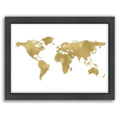 Americanflat World Map Framed Wall Art (715 CNY) ❤ liked on Polyvore featuring home, home decor, wall art, decor, pictures, travel, white, horizontal picture, map picture and framed picture