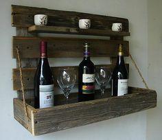 Rustic Wall Mount Liquor Wine Rack with Shelf Handmade Item from Reclaimed Wood