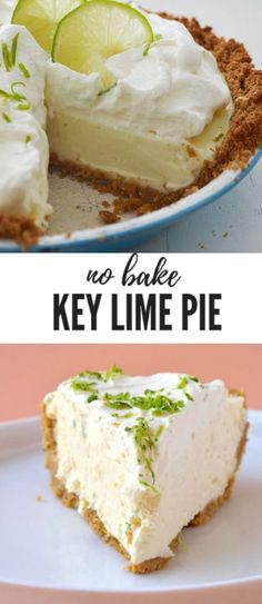 Mix until the graham crumbs are thoroughly coated with the butter Vegan Key Lime Pie, Key Lime Pie Bars, Best Key Lime Pie, Key Lime Pie Recipe Pioneer Woman, Easy Key Lime Pie Recipe No Bake, Key Lime Desserts, Easy Desserts, No Bake Desert Recipes, Lime Recipes