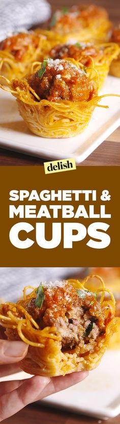 These Spaghetti & Meatball Bites are the party appetizer your friends have always wanted. Get the recipe on Delish.com.