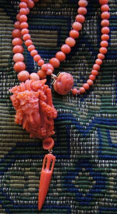 Victorian Coral Bacchus Pendant With Roman Amphora and Shell Dangle