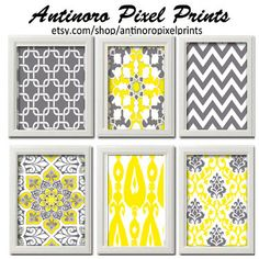 Yellow Greys White Wall Art Vintage / Modern inspired Art Prints Collection  -Set of 6 - 8x11 Prints - Featured in Yellow / Grey (UNFRAMED)