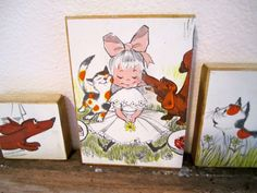 from 1960 Childrens book ....what a great idea...mount the pages on wood. THESE ARE ADORABLE!
