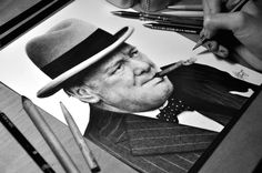 Drawing Winston Churchill - Graphite Heather Rooney realistic pencil drawings. She is amazing!