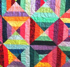 Full Quilt in Colorful Triangles by uniquelynancy on Etsy, $500.00