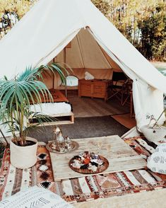 """Glamping or glamorous camping is a fairly new trend in camping in the outdoors where people sleep in the yurt or teepee at a resort. To date, you can find over a hundred """"glamp"""" sites in the Backyard Camping, Camping Glamping, Backyard Patio, Camping Tips, Bell Tent Glamping, Backpacking Tent, Outdoor Spaces, Outdoor Living, Outdoor Decor"""